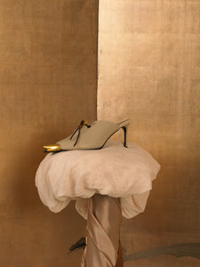 Artisanal Lunna Heeled Mules - Sand/Gold