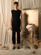 Load image into Gallery viewer, Elongated Rib-knit Dress-top - Black
