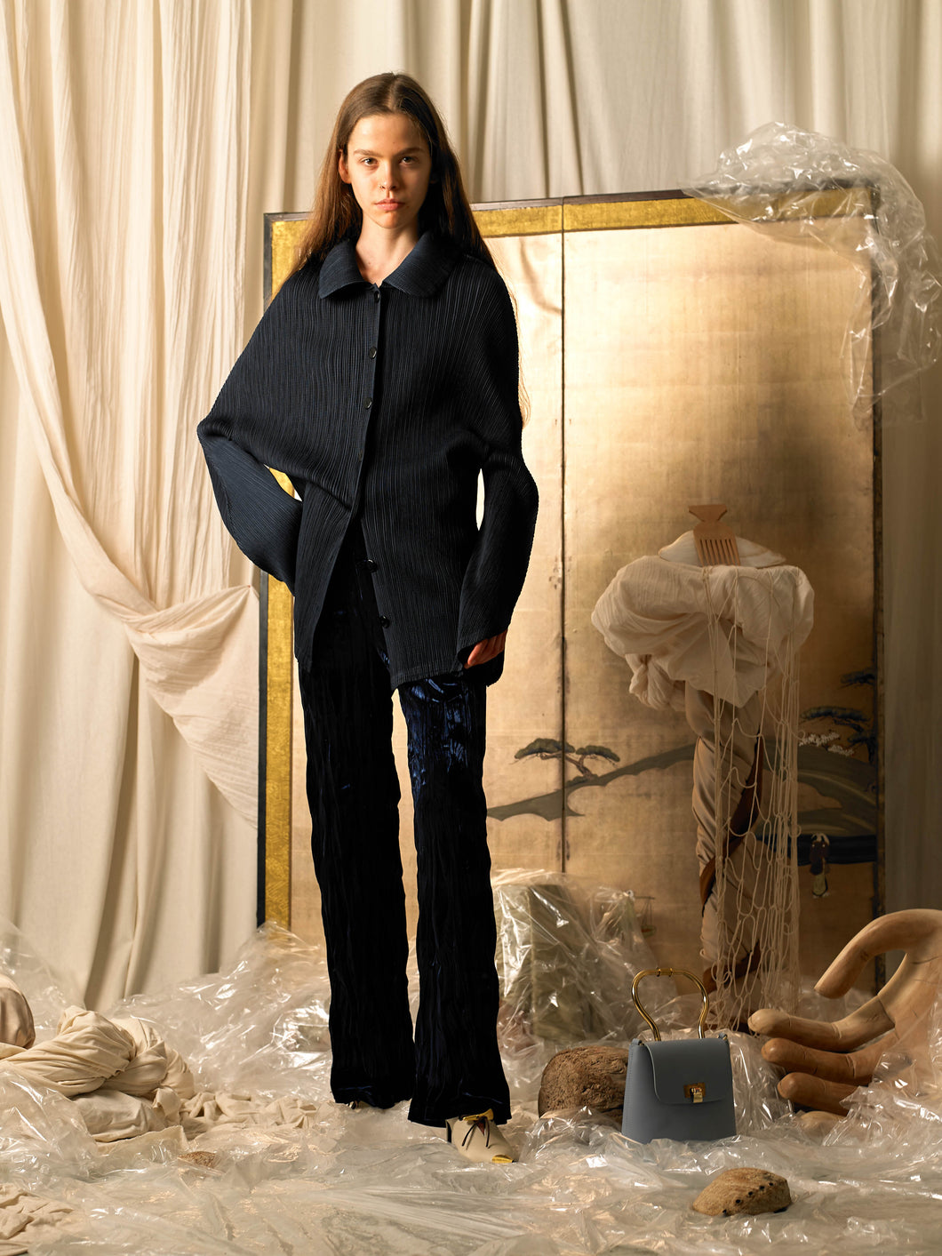 Crushed Velvet Tailored Trousers - Deep Ocean