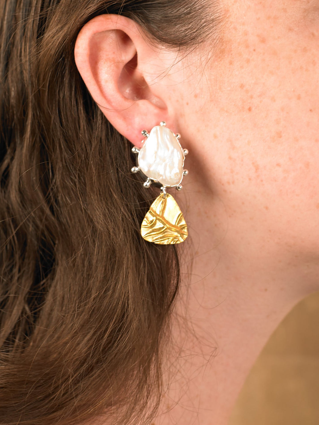 Trigon Earring - White Gold/Gold - Pair
