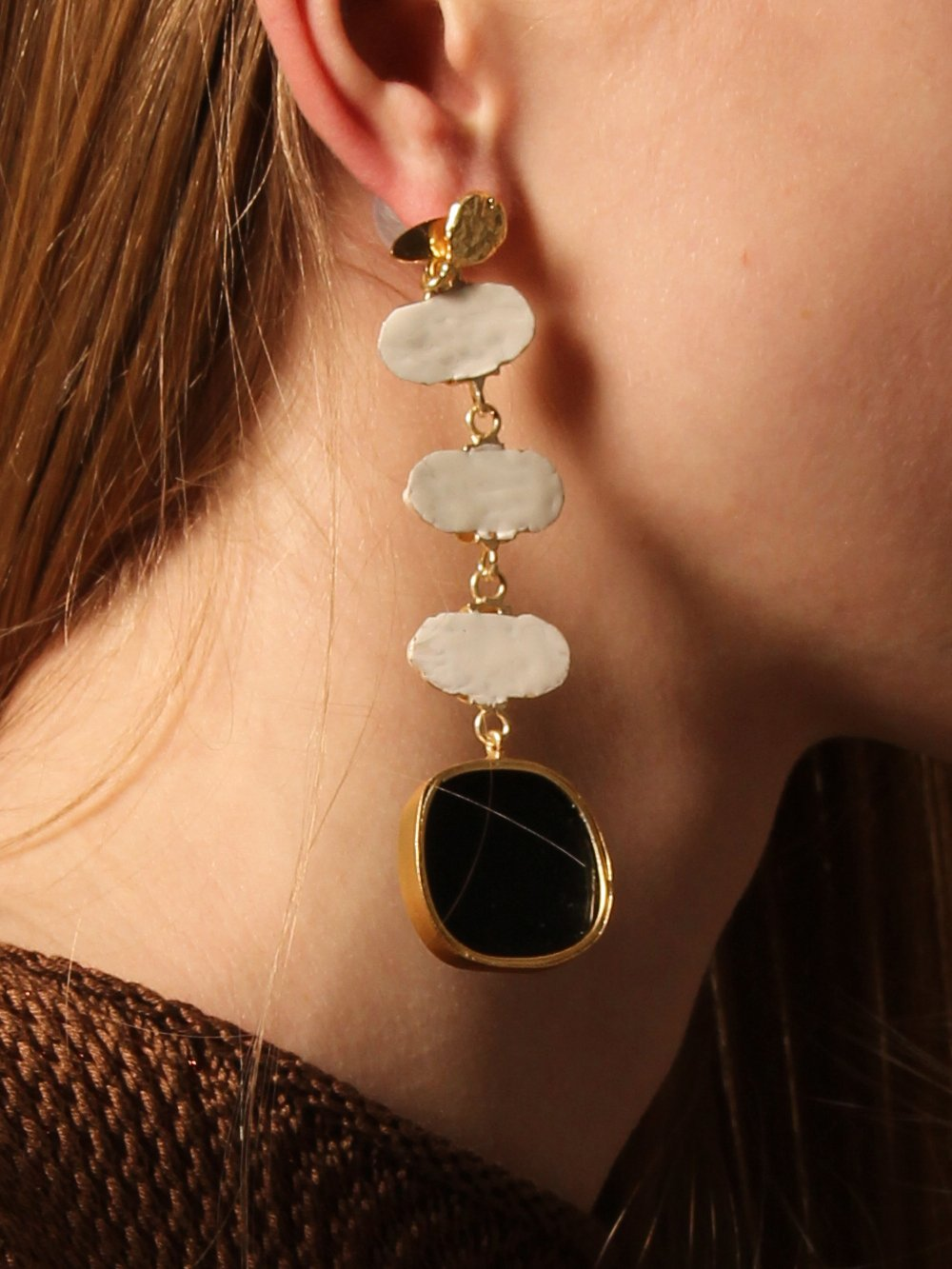 Eolian Earring (Reversible style) - White / Gold - Pair
