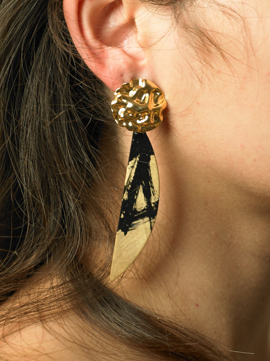 Aimo Earrings - Gold/Paradis Nuit - Pair