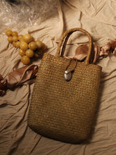 Load image into Gallery viewer, Artisanal Straw Tote Bag - Sand / Silver