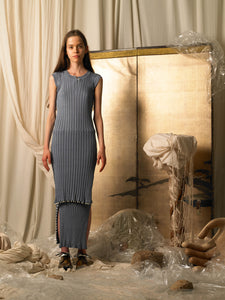 Elongated Rib-knit Dress-top - Slate