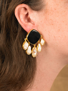 Estal Earring - Gold/Black -  Pair