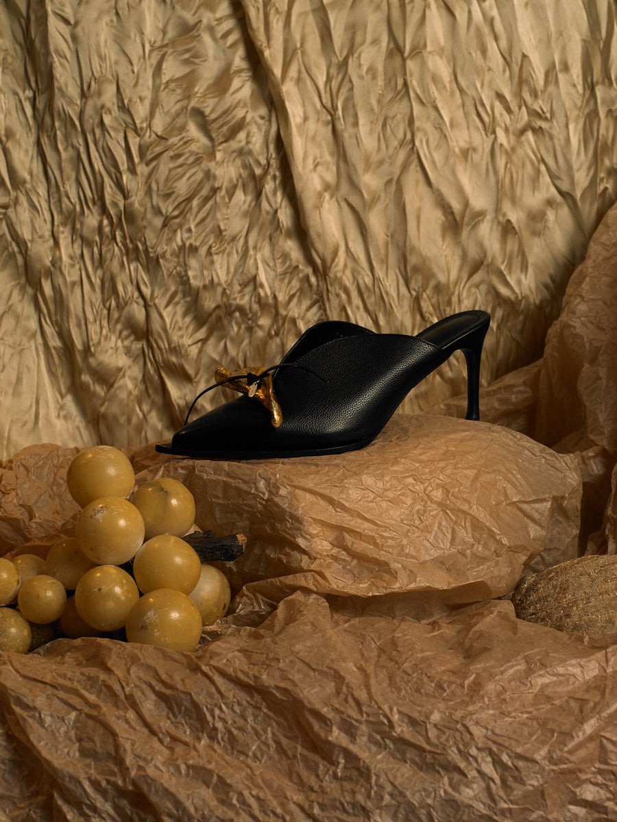 Artisanal Beauvoir Heeled Mules - Black/Tarnished Sun