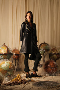 24K Gold plated Leather Coat - Black