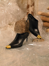 Load image into Gallery viewer, Artisanal Sunna Heeled Mules - Black/Gold