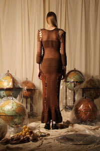 Exclusive Style - Couture shaped knit dress - Brown / Copper