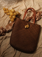 Load image into Gallery viewer, Artisanal Straw Tote Bag - Brown / Gold