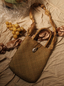 Artisanal Straw Tote Bag - Sand / Silver