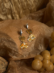 Levo Earrings - Gold/Tarnished Sun - Pair