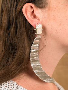Lunna Earrings - White Gold/Silver - Pair