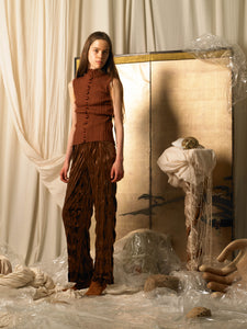 Crushed Velvet Tailored Trousers - Mattone