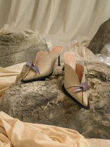 Artisanal Beauvoir Heeled Mules - Sand/Interference
