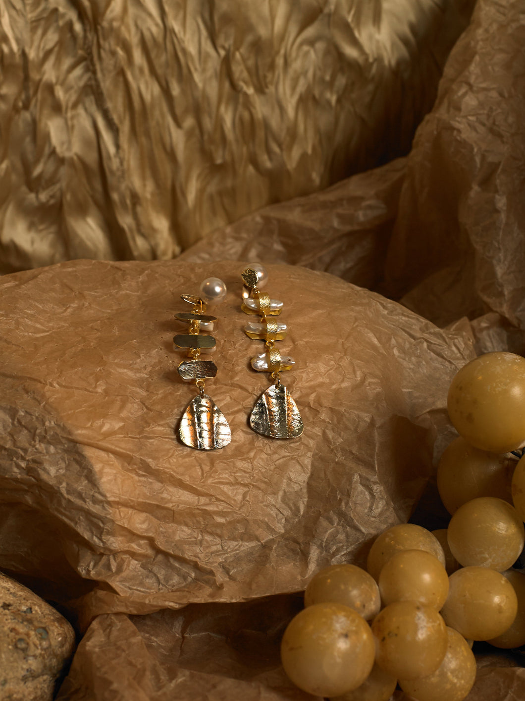 Aroda Earrings (Reversible) - Gold/Tarnished Moon - Pair