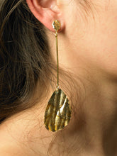 Load image into Gallery viewer, Gravia Drop Earrings - Gold/Tarnished Sun - Pair