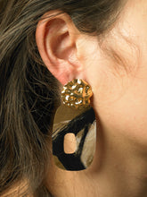 Load image into Gallery viewer, Elongated Uneva Earrings - gold/Interference - Pair