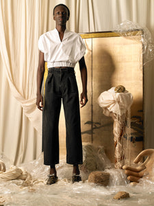 High-waist Pleated Trousers - Charcoal