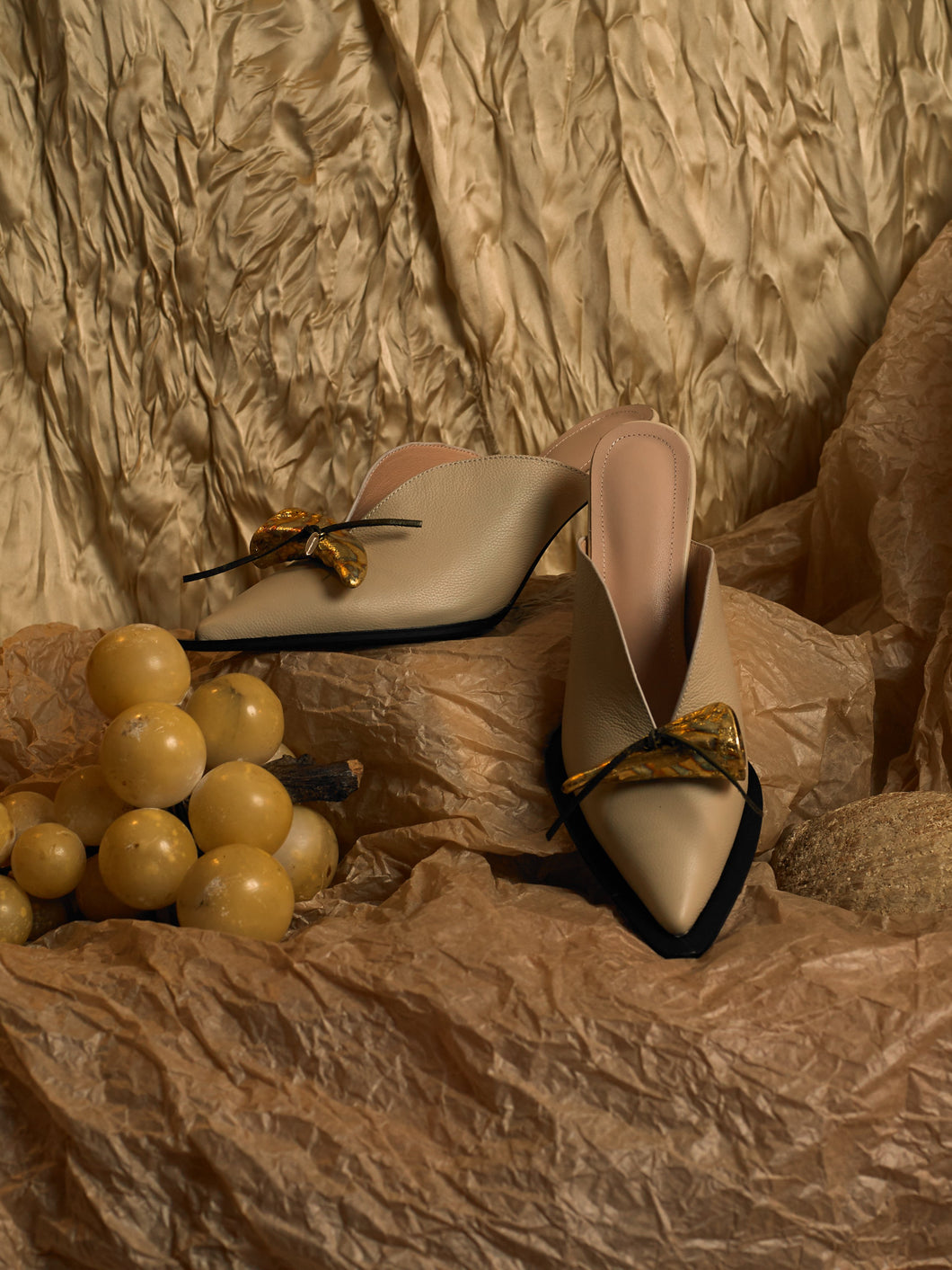 Artisanal Beauvoir Heeled Mules - Sand/Tarnished Sun