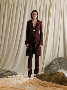 Crushed Saga Trousers - Garnet