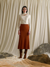 Load image into Gallery viewer, Rib-knit Midi A-line Skirt - Terra Orange