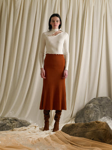Rib-knit Midi A-line Skirt - Terra Orange