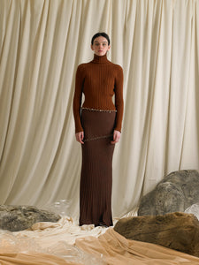 Elongated Rib-knit Skirt - Terra
