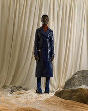 Load image into Gallery viewer, Vinyl-Leather Trench Coat - Odyssee Blue