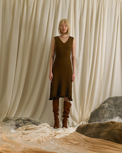 Sleeveless Rib-knit V-neck Dress - Acacia