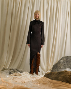 Techno-Pleat Shirt dress - Brown