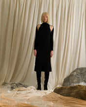Load image into Gallery viewer, Rib-knit Dress (detachable sleeves) - Black