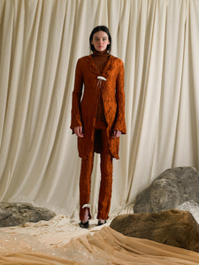 Crushed Saga Trousers - Burnt Orange