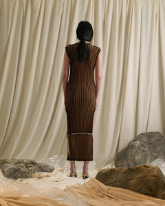 Elongated Rib-knit Dress-top - Terra/Sand