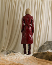 Load image into Gallery viewer, Vinyl-Leather Trench Coat - Garnet
