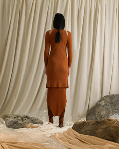 Rib-knit Dress - Burnt Orange