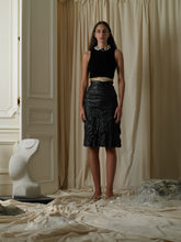 Load image into Gallery viewer, Crushed Vinyl-Leather Skirt - Black