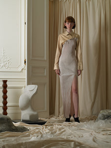Techno-pleat Shirt Dress - Soleil/Sand