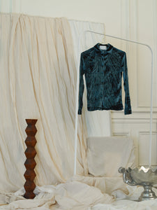Crushed Velvet Shirt - Prussian Green