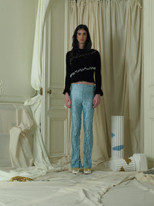 Crushed Elongated Trousers - Ocean Mist