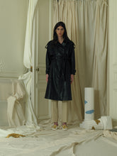 Load image into Gallery viewer, Faux-Leather Trench Coat - Black
