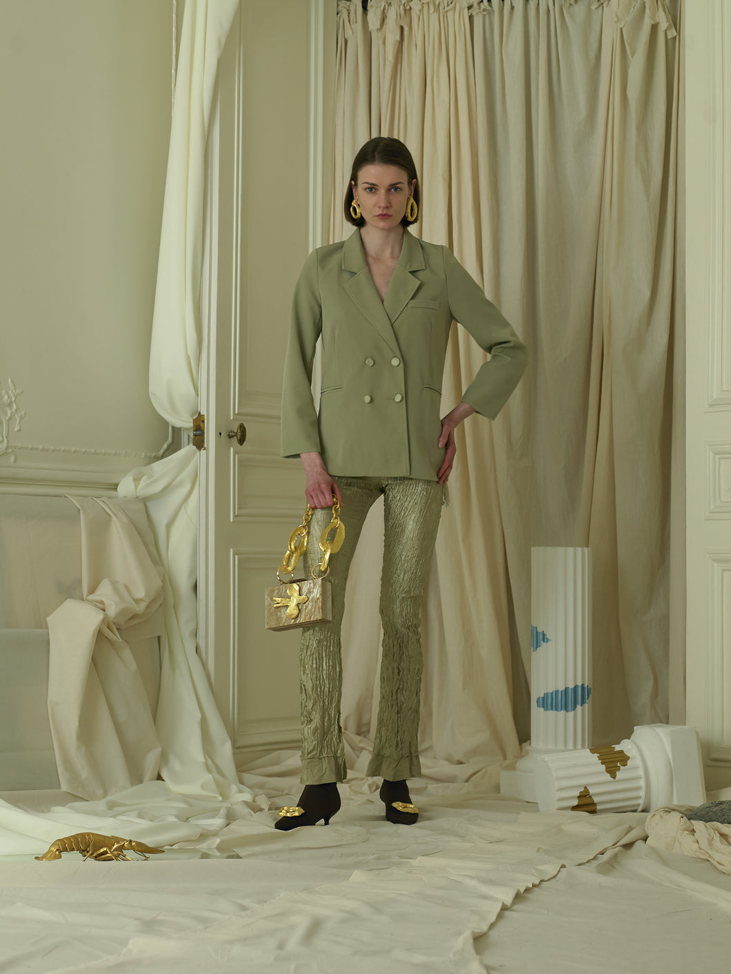 Crushed Elongated Trousers - Sage
