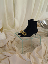 Load image into Gallery viewer, Techno-Knit Galea Low-Heeled Boots - Black/Gold