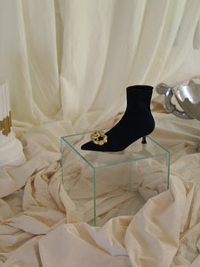 Techno-Knit Galea Low-Heeled Boots - Black/Gold