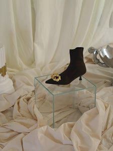 Techno-Knit Galea Low-Heeled Boots - Chataigne/Gold