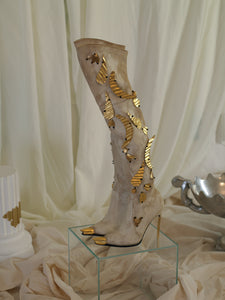 Artisanal Josa Collage Heeled Boots - Sand/Gold