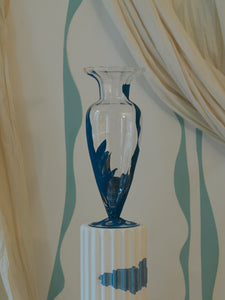 Hand painted glass vase – Prussian Blue