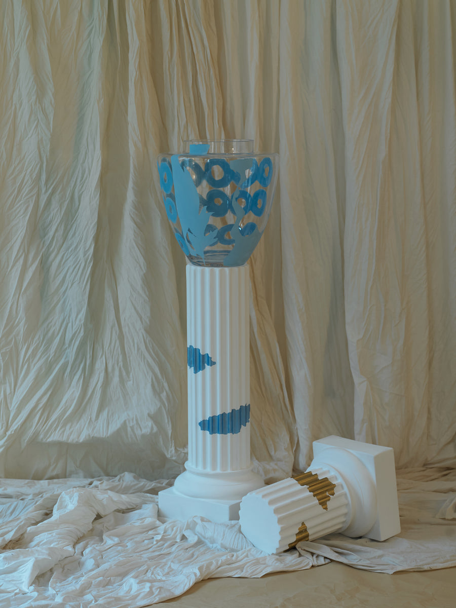 Hand painted Floor vase - Light Blue