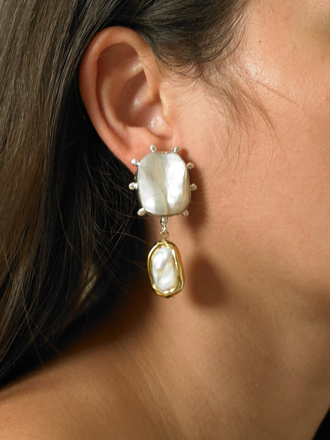 Danu Earrings - White Gold/Gold