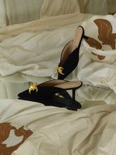 Load image into Gallery viewer, Artisanal Selene Low-Heeled Mules - Black/Gold